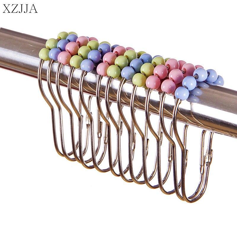 Xzjja 10 Pc Roestvrij Stee Bad Gordijn Rollerball Douchegordijn Glide Ringen Ringen Haken 5 Roller Bal Gordijn Accessoires