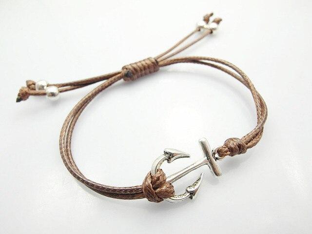 Fashion Jewelry Anchor Charm Brown Wax Cord Bracelets For And Women Whole Handmade Diy Friendship Bracelet
