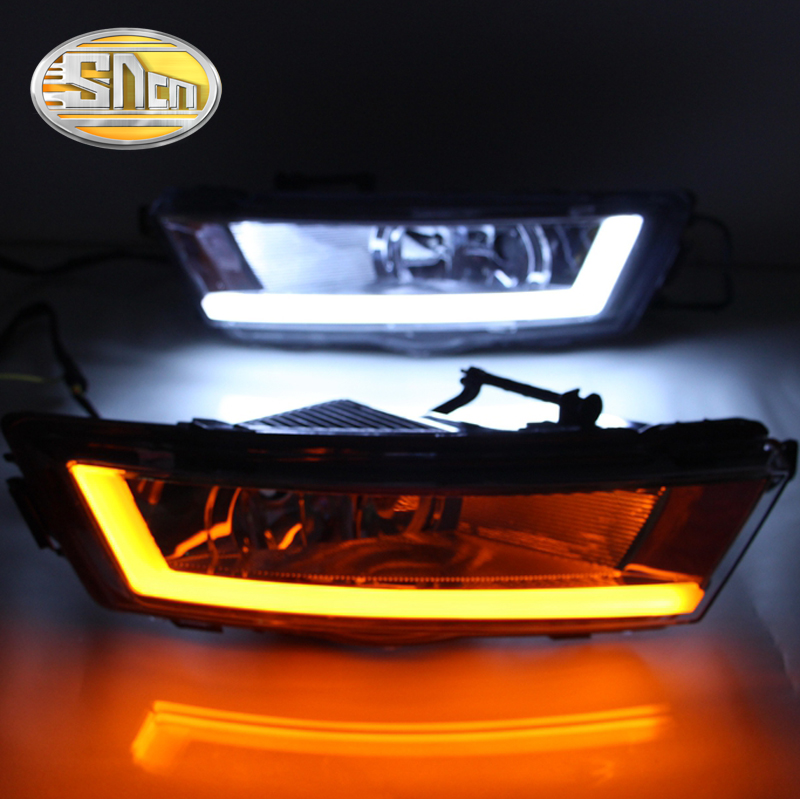 SNCN With Yellow Turning Signal Relay Waterproof 12V Car DRL LED Daytime Running Light Fog Light For Skoda Rapid 2013 2014 2015 waterproof car relay 12v 40a 4 modified car with cable