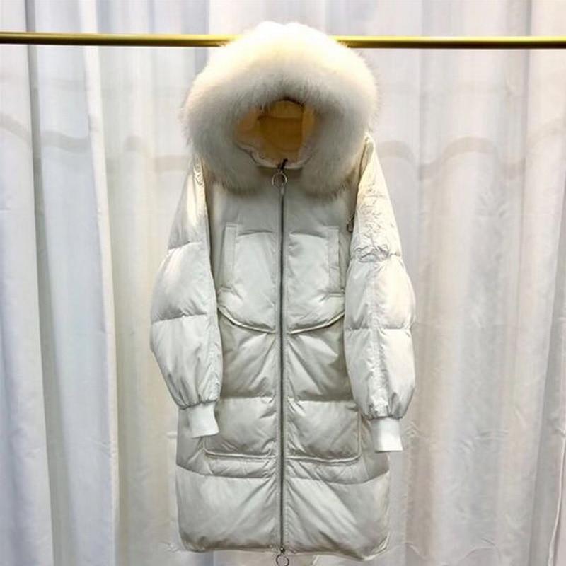 Big Real Raccoon Fur 2018 Winter   Coat   Jacket Women Long White Duck   Down   Jacket Warm Loose Parka Plus Size   Down     Coat   High Quality