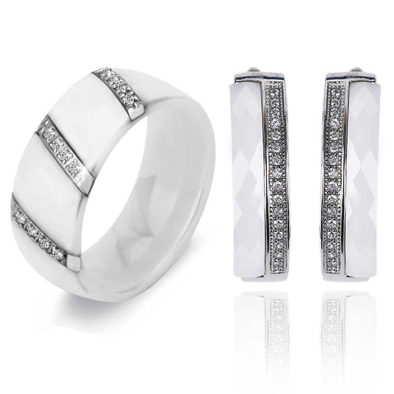 Dubai Silber Schmuck Sets Hochzeit Afrikanische Kristall Braut Keramik Ringe U Form Ohrring Schmuck Set Strass Jahrestag Geschenk
