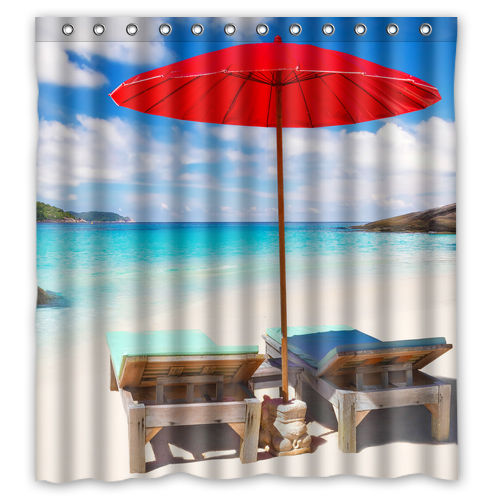 Beach Chairs Red Umbrellas Custom Design Bath Bathroom Curtains Waterproof Shower Curtain Size 48x7260x7266x72 72x72inches In From Home