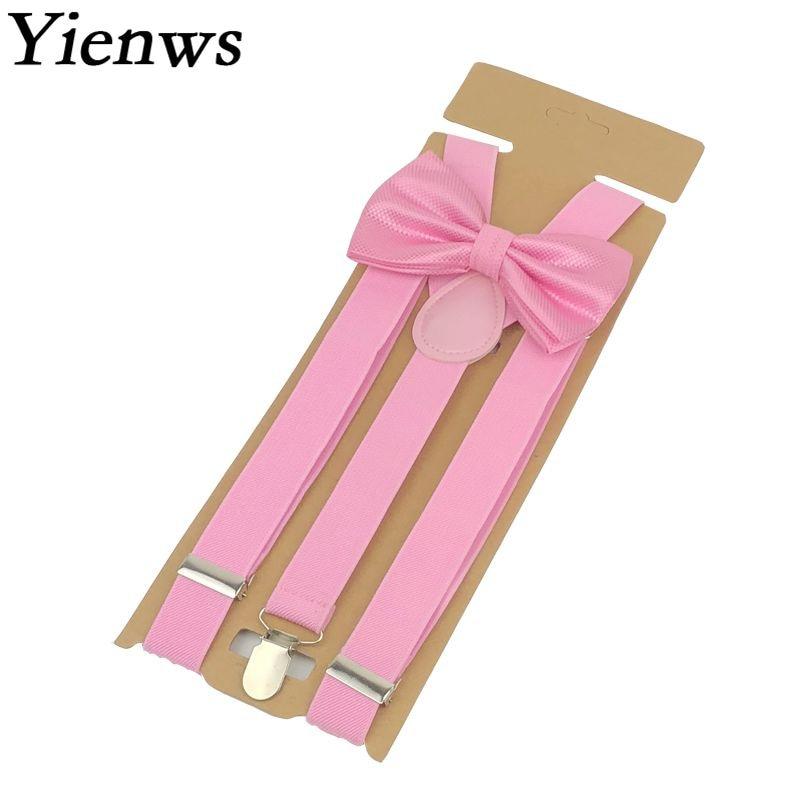 Yienws Bow Tie Suspenders Pants Women 3 Clip Bowtie Pink Braces Leisure Button Bow Tie Set Bretels Dames Red Ligas 110cm YiA070