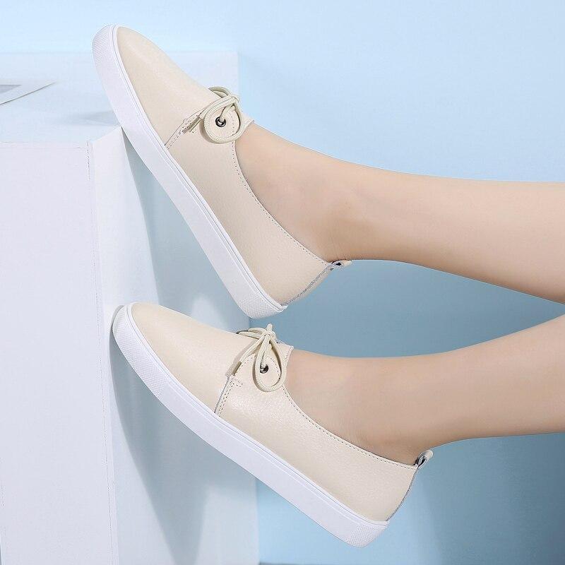 AARDIMI Plus Size 35-43 Women Shoes Genuine Leather Women Ballet Flats Nurse Shoes Moccasins Causal Shoes Cowhide Woman Loafers
