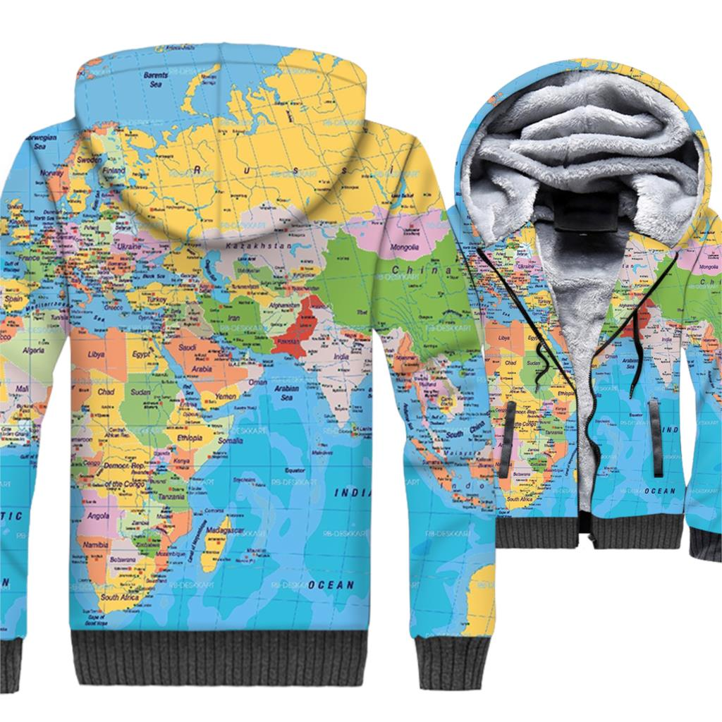 2019 new arrival men wool liner jackets novelty map 3D printed hooded sweatshirts high quality fitness brand coats plus clothing