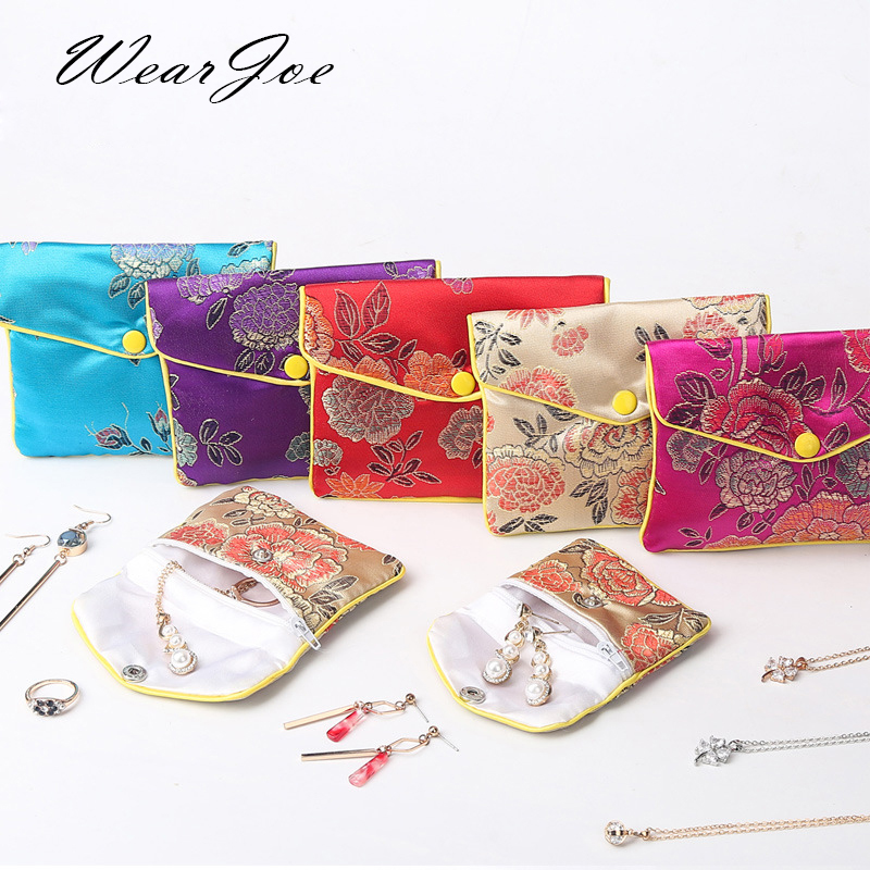 Chinese Brocade Handmade Silk Embroidery Padded Zipper Small Jewelry Gift Storage Pouch Bag Snap Case Satin Coin Purse Wholesale