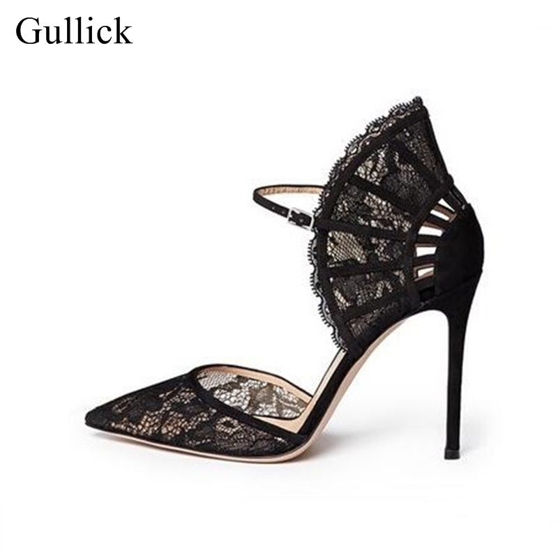 Free Ship Women Black Lace High Heel Pumps Fan-shaped Ankle Strap Wedding Dress Shoes Cut-out Pointed toe Bride Heels Lady Shoes 5 colors ankle strap lady wedding shoes women red thick high heel pumps lady square toe black dress shoes size34 43