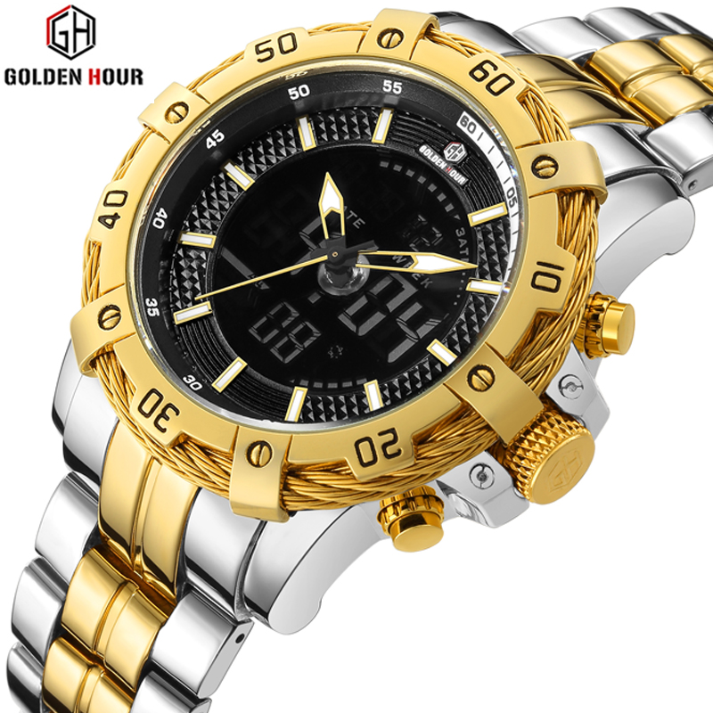 GOLDENHOUR Mens Quartz Analog Watch Luxury Fashion Sport Wristwatch Waterproof Stainless Male Watches Clock Relogio Masculino цена и фото