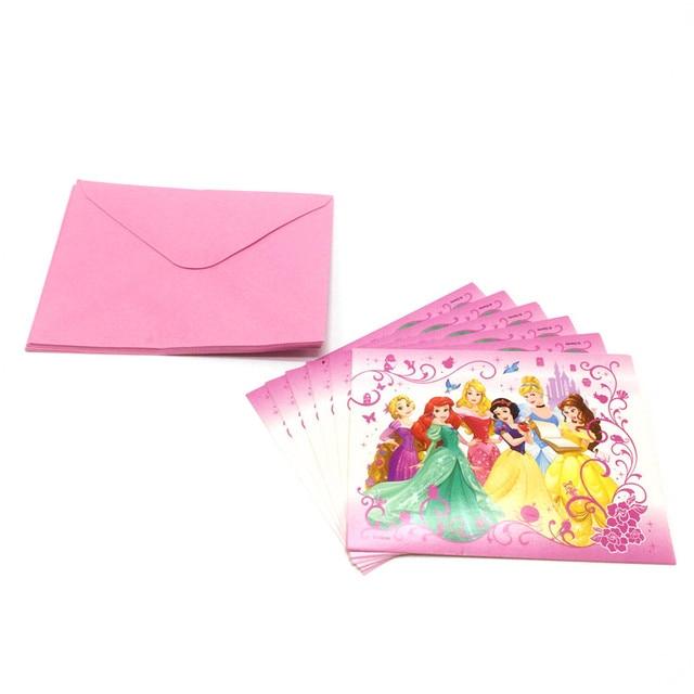 6pcs Disney Six Princess Theme Wedding Mini Greeting Card For Birthday Party Thank You Baby Shower Invitation Supply