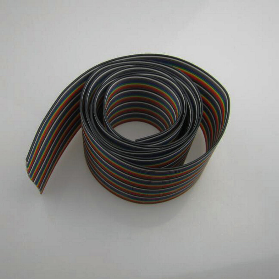 5 meters/lot ribbon cable 7 copper core 40 WAY Flat Color Rainbow ...