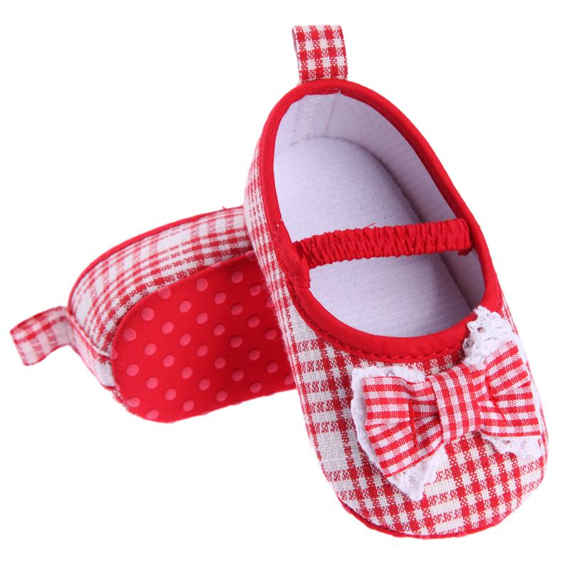 Baby Shoes Princess Girls First Walker Plaid Lace Bowknot Anti Slip Footwear Newborn Soft Spring Autumn Shoes