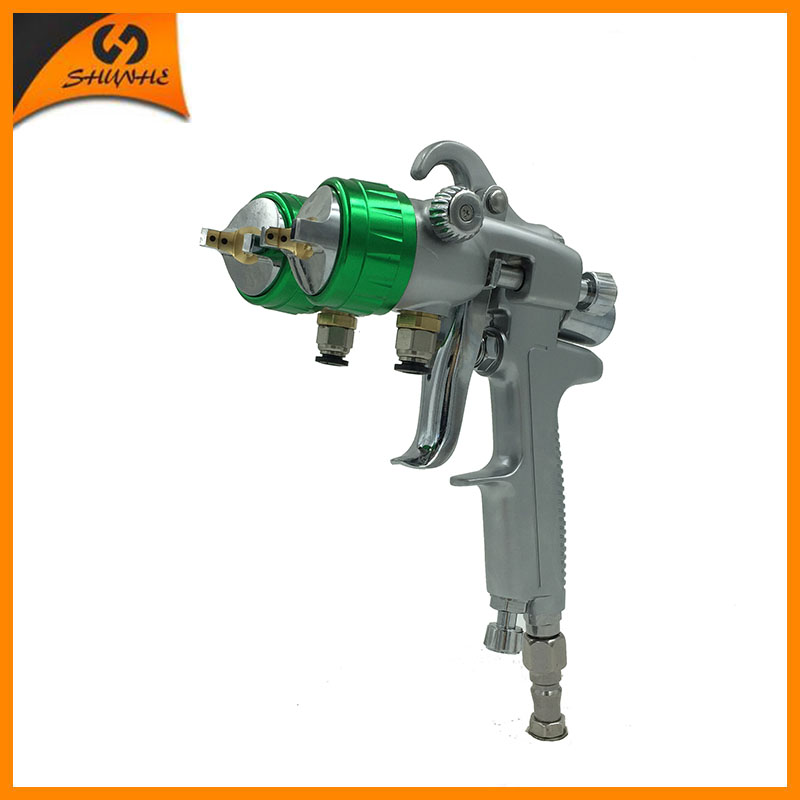 цена на SAT1189 high pressure air spray gun for painting double nozzle gun nano chrome silver mirror plate paint sprayer pneumatic tool