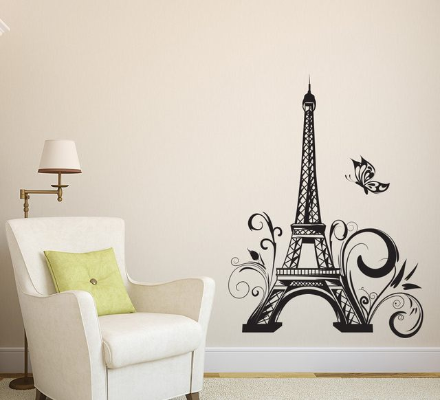 Classic Eiffel Tower Butterfly Paris Wall Decals Sticker Vinyls Stickers  Wall Stickers Home Decor Living Room Wall Decorations