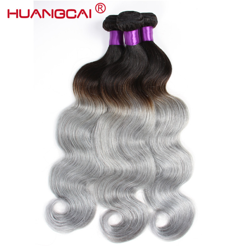 HuangCai Ombre Malaysian 1B/Grey Non-Remy Body Wave Extention 3 Bundles Deal Hum