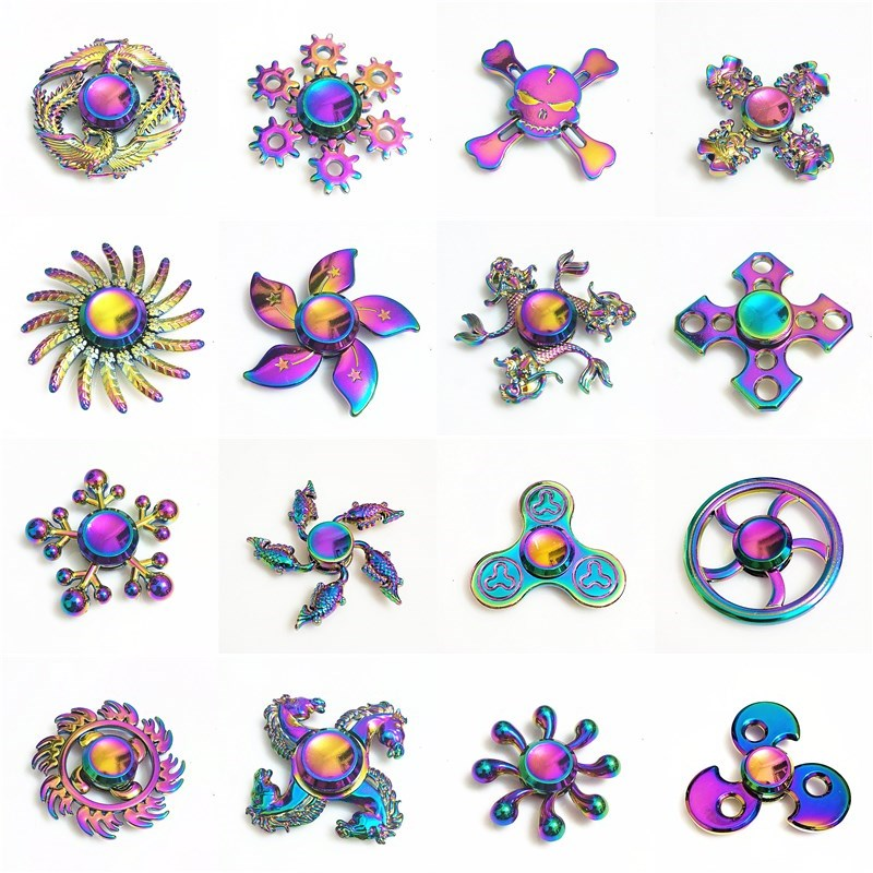 081 High Quality Fidget Spinner Metal Rainbow Dragon Hand Finger Spinners Autism ADHD Focus Anxiety Relief Stress