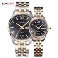 Amantes LONGBO Marca Wstch Hombres Mujeres Pareja Relojes Fecha de Oro Acero Inoxidable de Cuarzo de Moda Casual Reloj Relogio masculino