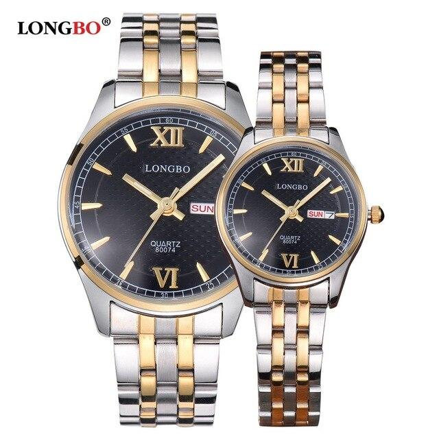 LONGBO Brand Lovers Wstch Men Women Couple Watches Date Gold Stainless Steel Fashion Casual Quartz Wristwatch Relogio Masculino
