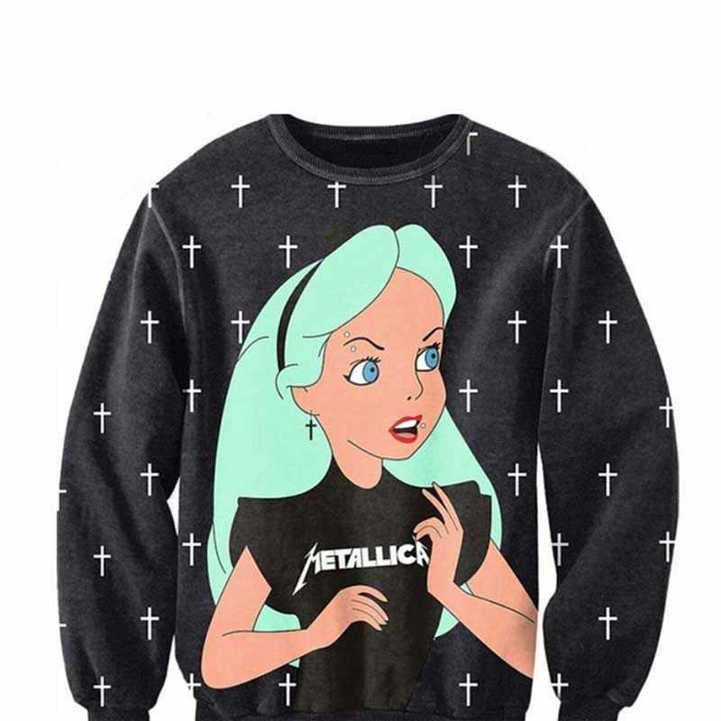 Erkekler kadınlar 3D karikatür Punk kız Alice çapraz Sweatshirts Tops terlemeleri Alice in Wonderland