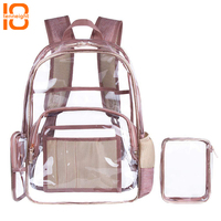 TENNEIGHT Clear PVC Backpack with Cosmetic Bag Fit 15.6 inch Laptop hiking Multi pockets Waterproof School Bookbag for Women Men