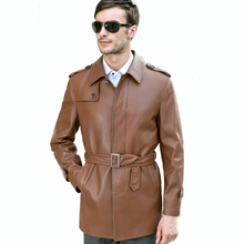 2017 Genuine Sheepskin Leather Male Medium-long Casual Formal Belt Slim Men Spring Autumn Brown Black Clothing Outerwear Jackets