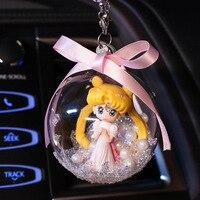 Shining Crystal Ball Ornament Moon Princess Pendant for Girls Gift Birthday Present Car Inside Decor DEC480