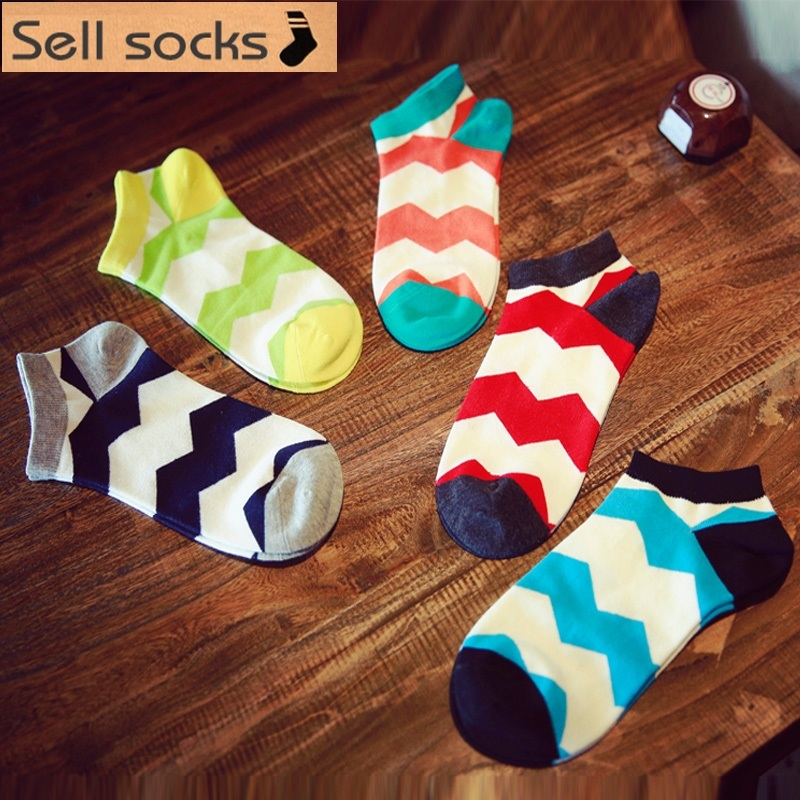 new summer Colorful wave pattern man Casual ankle cotton socks men boat sock slippers harajuku EUR39-44