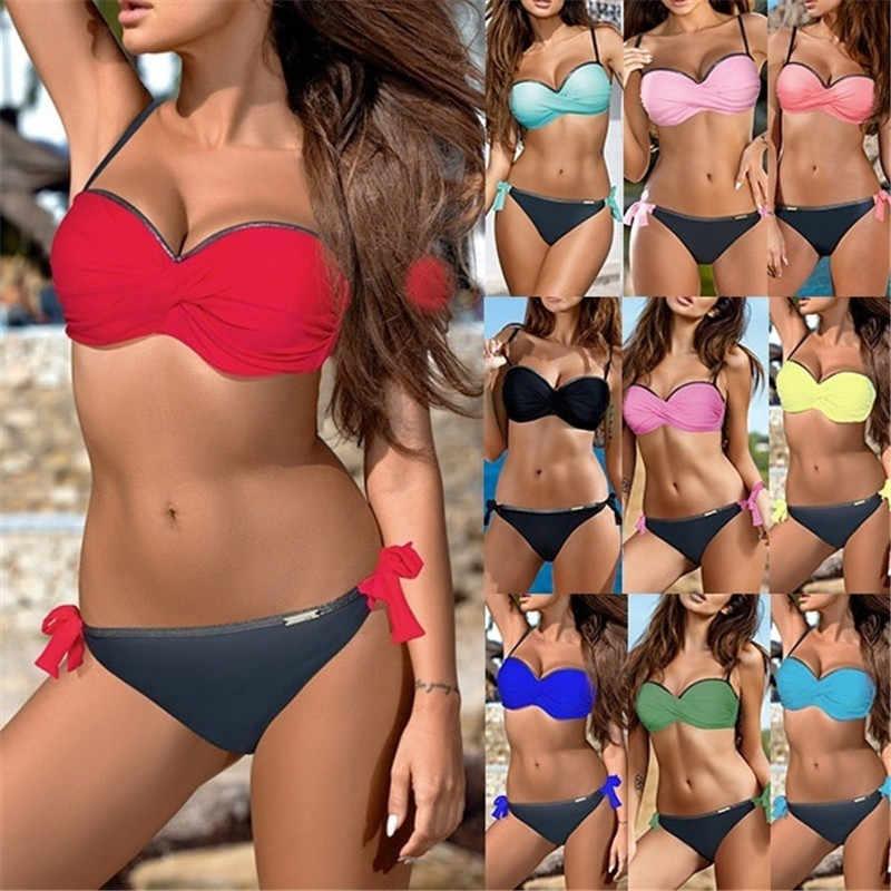 f15dae59cf 2019 Women Bandeau Red Push Up Swimsuit Sexy Padded Europe Bikini Set Female  Swimwear Summer Beachwear