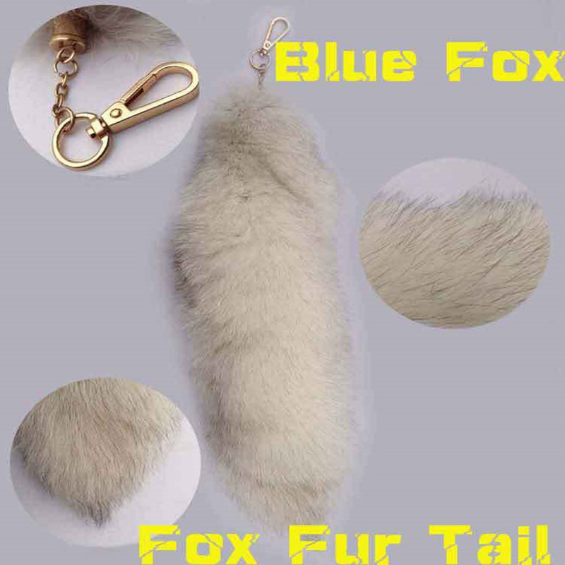 The new 2016 fur accessories large blue fox mobile phone chain bag the car keys to the fox's tail fur accessories