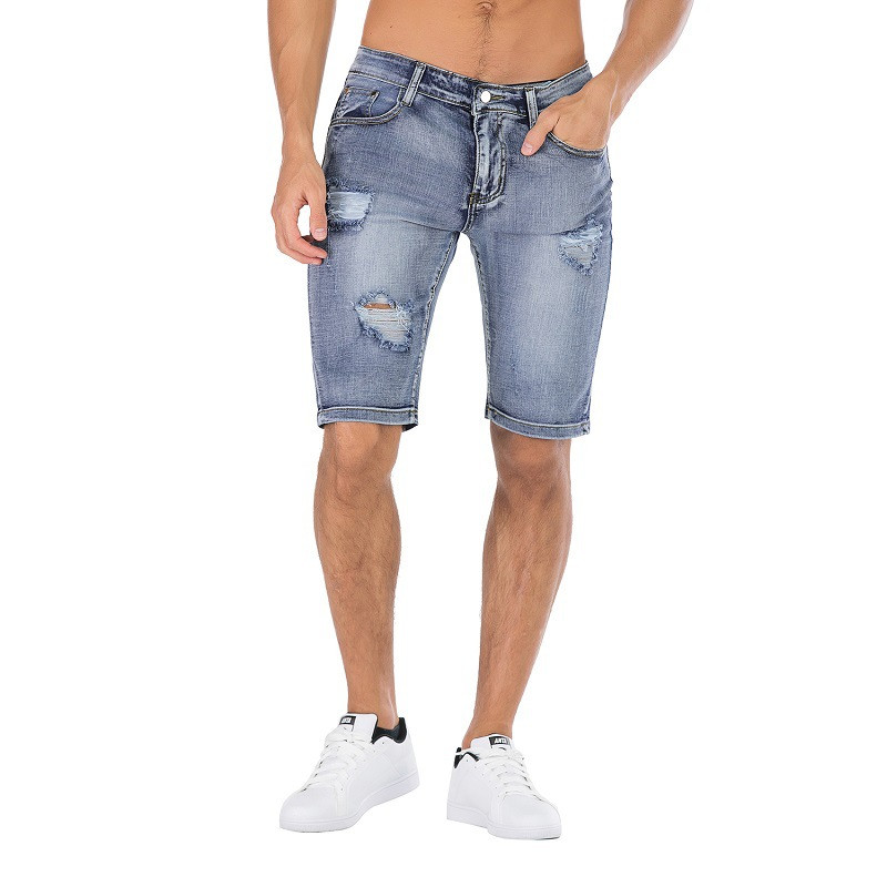 KIMSERE Men Summer Ripped Short Jeans Vintage Destroyed Denim Shorts With Hoels Washed Stretch Hi Streetwear Plus Size 28-42(China)