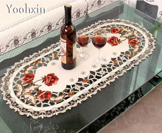 HOT Satin Embroidery Table Place Mat Pad Cloth Lace Cup
