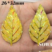 Frete grátis 20 PCS Size52 * 26 mm amarelo AB cor folhas resina natator Scrapbooking para DIY / casamento / artesanato de
