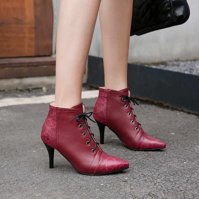 ASUMER 2020 sonbahar kış çizmeler kadın sivri burun kadın botları karışık renkler lace up bayanlar ayakkabı kadın yarım çizmeler büyük boy