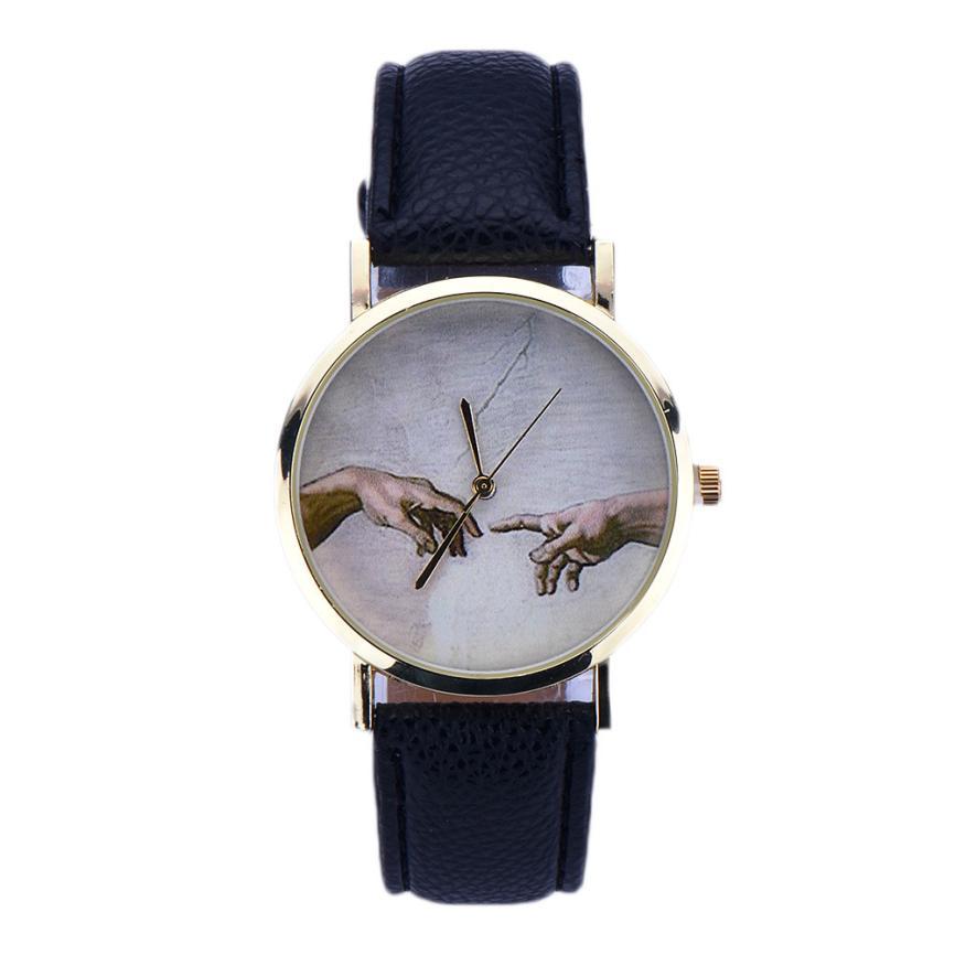 Newly Design Art Pattern Women Lady PU Leather Quartz Wrist Watches Unisex Men Luxury Casual Sport Watches Hot Clocks Relojes