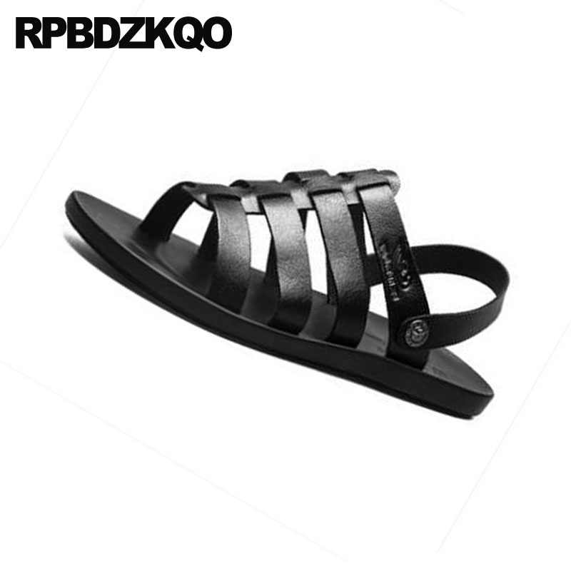 b8c70700799d ... Men Gladiator Sandals Summer Slip On Beach White Slippers Strap Casual  Black Shoes Sneakers Roman Soft ...