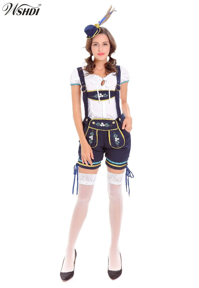 Women Sexy Lederhosen Costume Bavarian Oktoberfest Beer Girl Bar Costume Adult Beer Maid Clothing