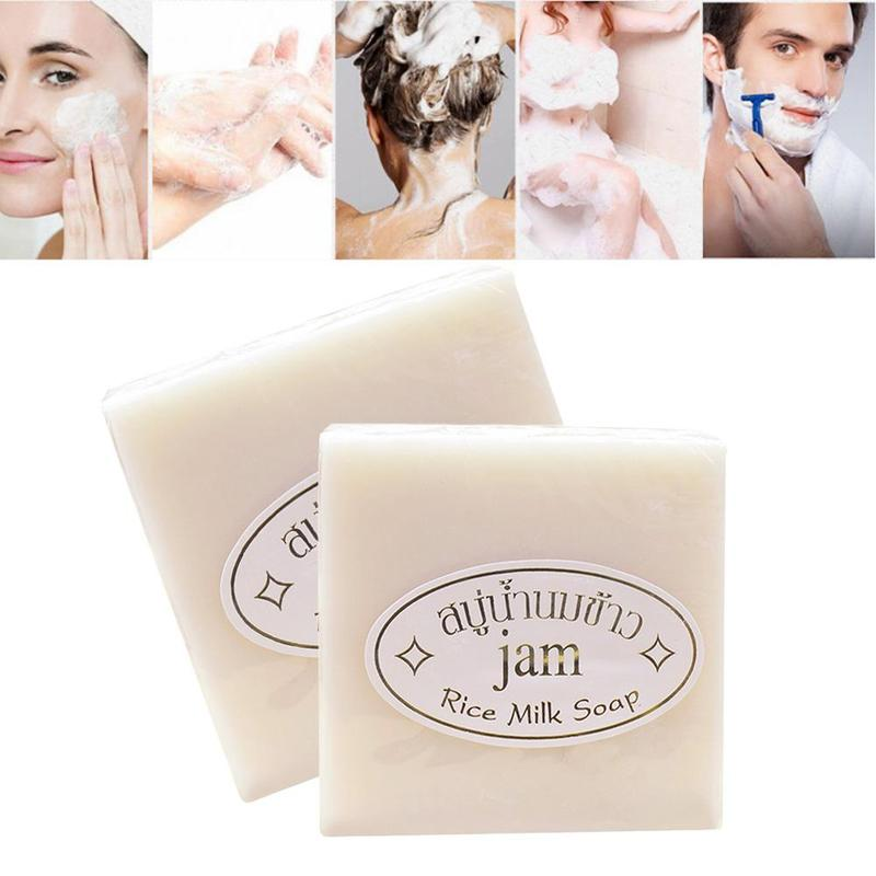 1PC Handmade Rice Milk Soap Collagen Vitamin Skin Whitening Bathing Tool Bleaching Agents Acne Soap Oil Control And Moisturizing