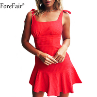 ForeFair Sweet Bow Sling Backless Summer Dress Cotton Empire Ruffles Mini Dress Women