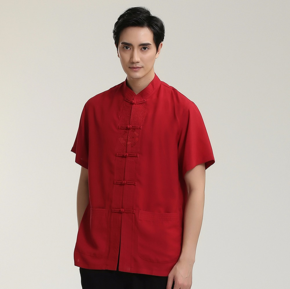 Casual Shirts Shirts Smart Discount Black Chinese Mens Short-sleeve Kung Fu Shirt Top Novelty Embroidery Tang Suit Clothing Size S M L Xl Xxl Xxxl