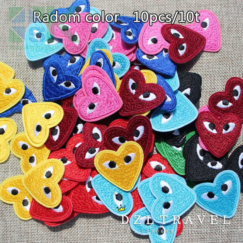 10 Pcs Lot Random Color Embroidery Cdg Play Logo Clothes Iron On Sew On Appliques Comme Des Garcons Patch Iron Clothes Clothes Paintclothes Brush Aliexpress