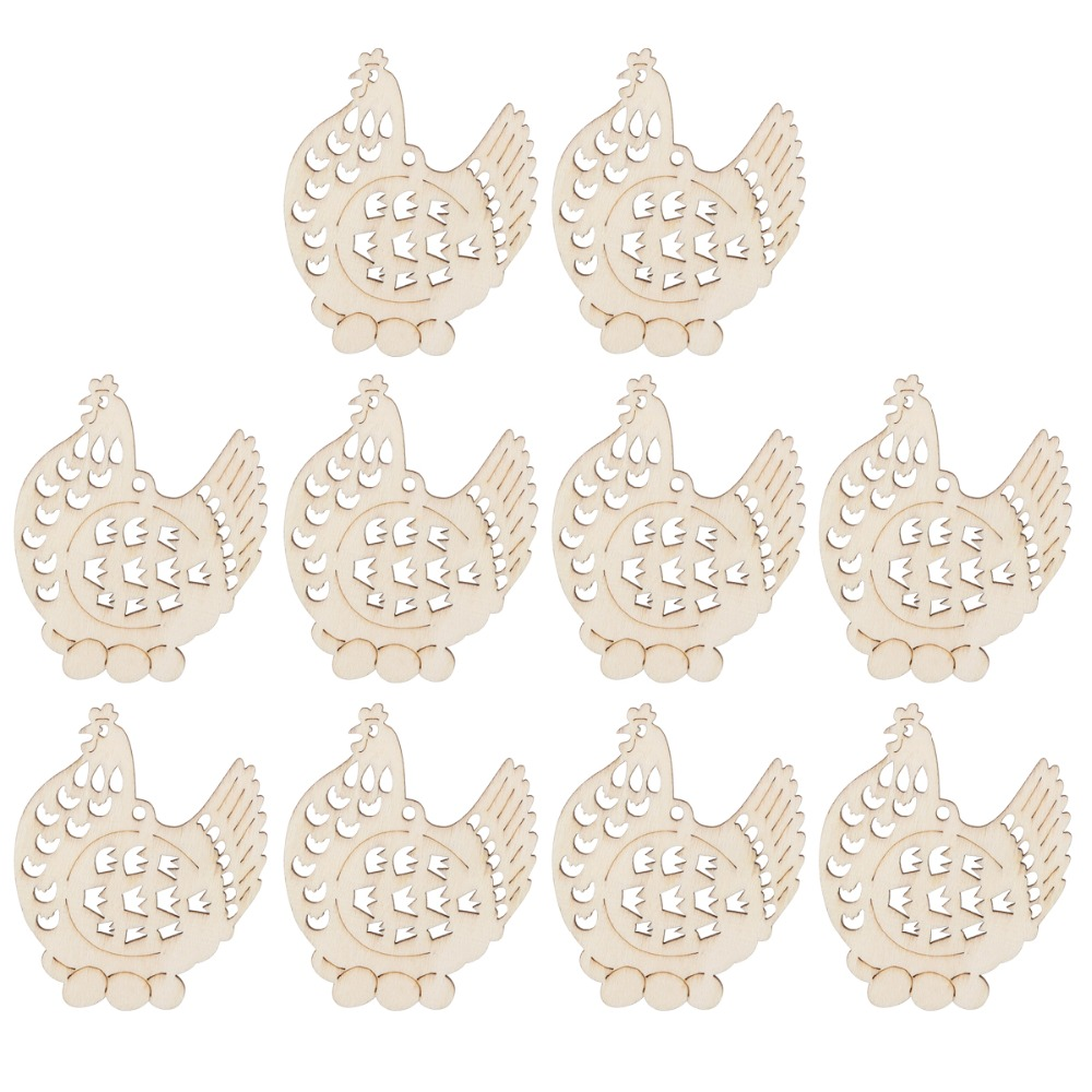 Chicken christmas ornaments - Angrly 10pcs Natural Chicken Wooden Pendants Scrapbooking Christmas Motif Snowman Hanging Christmas Tree Ornament Decoration