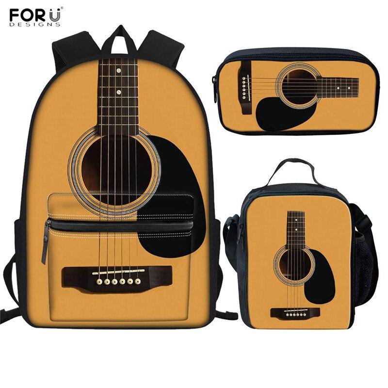 FORUDESIGNS New Fashion Schoolbags Kids School Backpacks Guitar Prints 3D Backpack For Teenagers Durable Laptop Rucksack Satchel