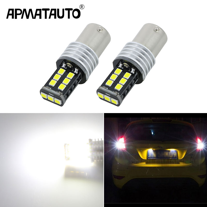 Apmatauto 2x LED Bulbs 800lm For Backup Reverse Light R5 1156 p21w ba15sFor Ford Focus 2 3 Fiesta Mondeo Kuga Fusion Ranger