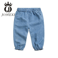 JOHEXI Cartoon Embroidery Design Girl Kid Pants Cotton Elastic Waist Mid Full Length Girls Children/Kid Pants Loose Soft Lovely