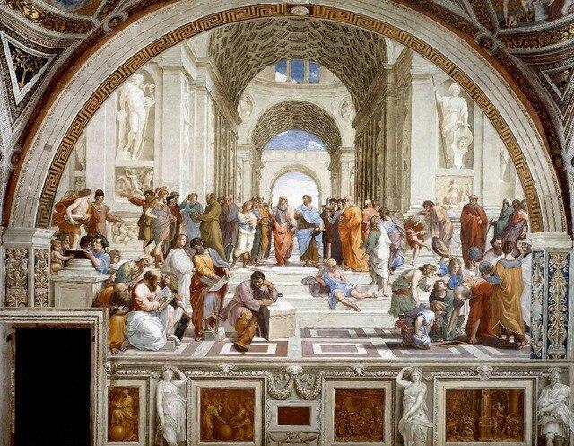 Clásico Raffaello Sanzio la Escuela de Atenas Fondo cartel impresión ...