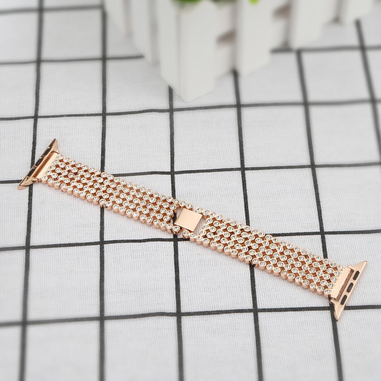 Pulseira de Cristal para Apple Feminina para Iver Band 44mm Diamante Aço Inoxidável Pulseira Série 1 2 3 4 5 Ver 38mm 42mm 40mm