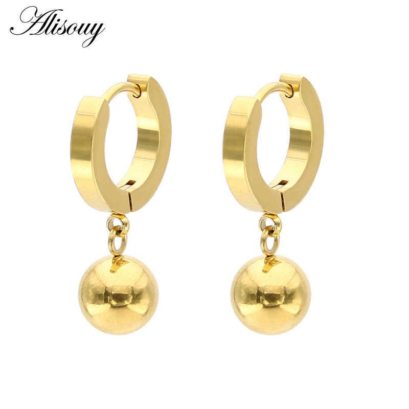Alisouy nova Moda Das Mulheres jóias brincos longos hipoalergênico 316L bola cor de ouro de aço inoxidável brincos de argola para as mulheres