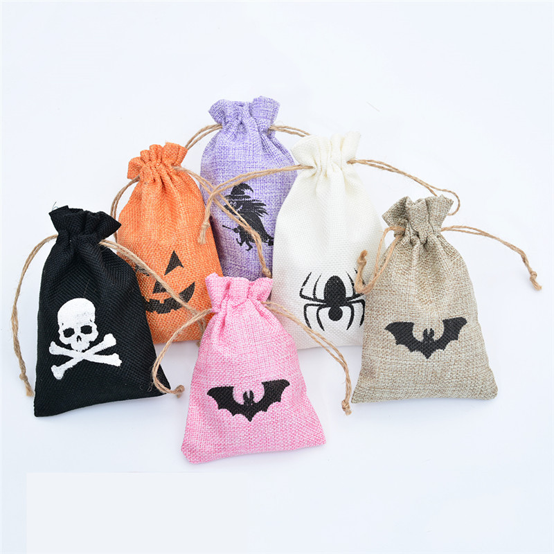 10x15CM Wedding Holiday Gift Bag With Drawstring 50PCS Christmas Pattern Line Burlap Jewelry Packaging Bag For Candy Coffee