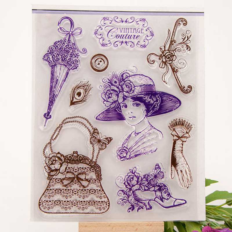 Vintage Lady Transparent Silicone Rubber Stamps Clear ...
