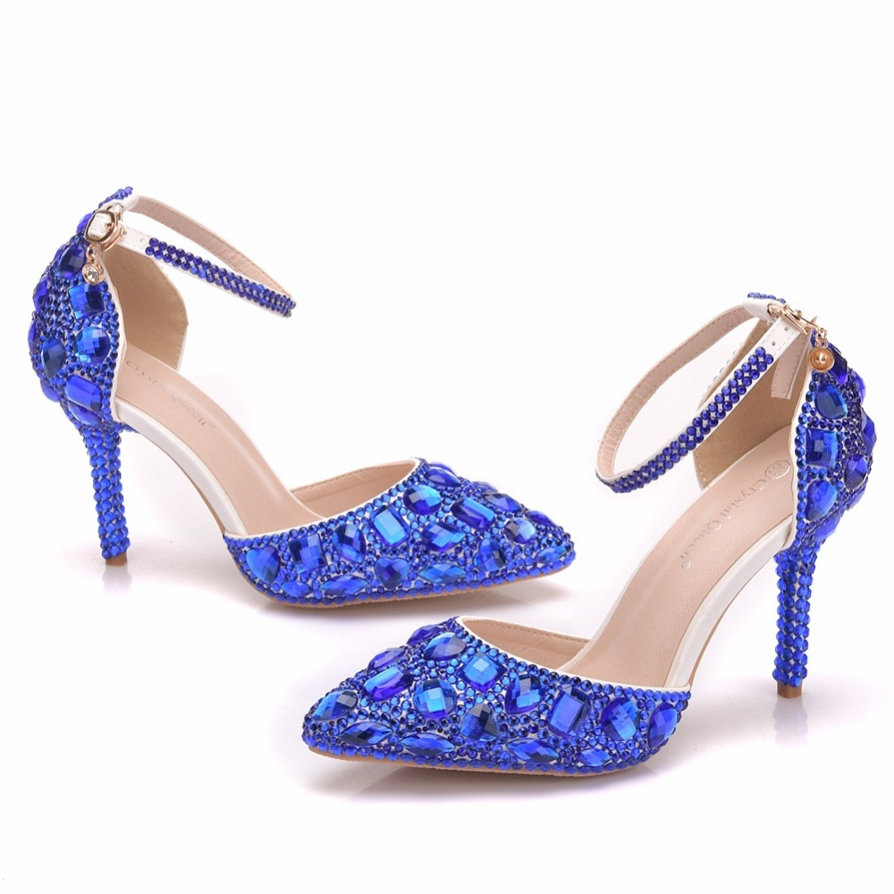 Blue Rhinestone Bridal Dress Shoes Sandals High Heels 9
