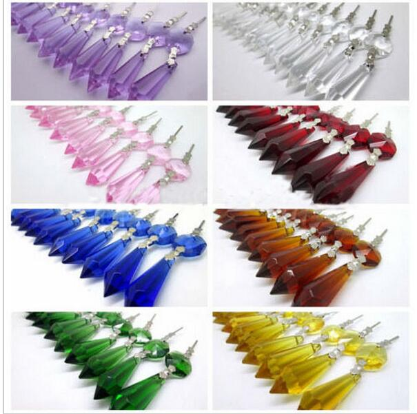 20pcs/lot 38mm mixcolors Crystal icicle pendants+14mm beads for chandelier parts,lighting suncatcher prisms wedding/home dcor ...